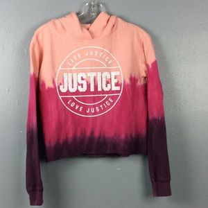 Justice Active Girls Pink  Tye Dye Hoodie Sz 14/16